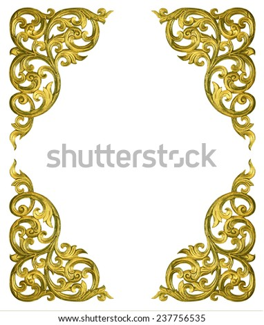 Pattern of flower carved frame on white background