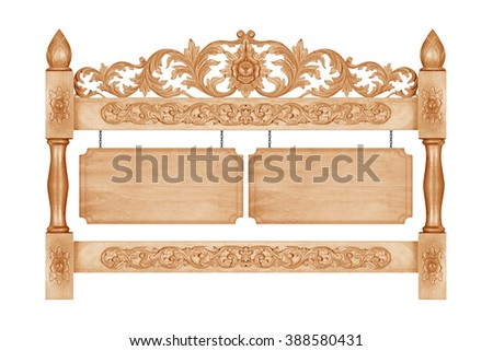 Pattern of flower carved frame with wooden sign hanging on a chain on white background - stock photo