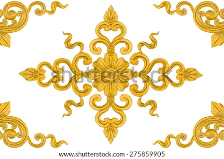 Pattern of flower carved isolated on white background, Flower framing. - stock photo