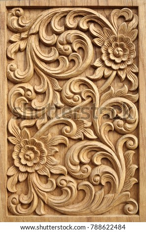 Pattern Flower Carved On Wood Background Stock Photo