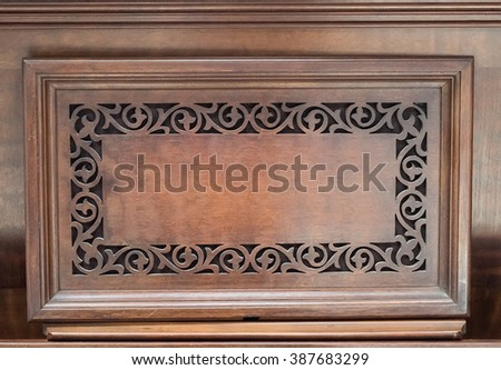 Pattern of flower carved on wood for decoration