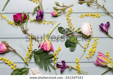Pattern of FlPattern of Flowers on vintage wood backgroundowers on vintage wood background - stock photo