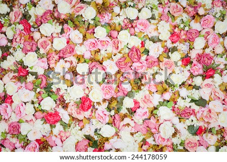 Pattern of fresh colorful roses