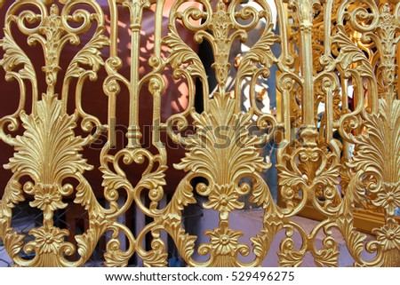 Pattern of gold metal carve flower