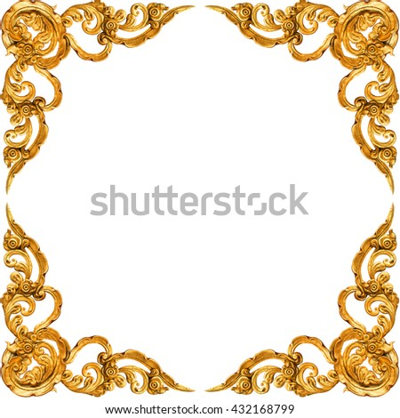 Pattern of gold Stucco frame carve on white background - stock photo