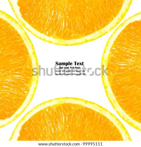 Pattern of half Orange isolated on white background - stock photo