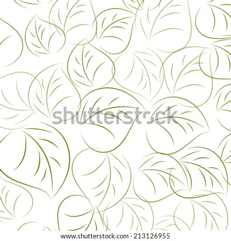 Pattern of hand drawn leaves. - stock photo