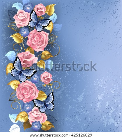 pattern of interwoven pink roses and blue violets, blue butterflies decorated in the fashion textural background. Design with roses. Pink rose. Trendy colors. Rose Quartz and serenity.  - stock photo