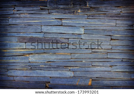 pattern of modern blue-violet brick wall, slate stone wall surface and background texture  background