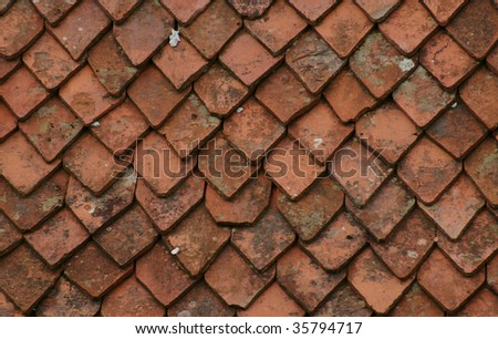 Pattern of old roof tiles - stock photo