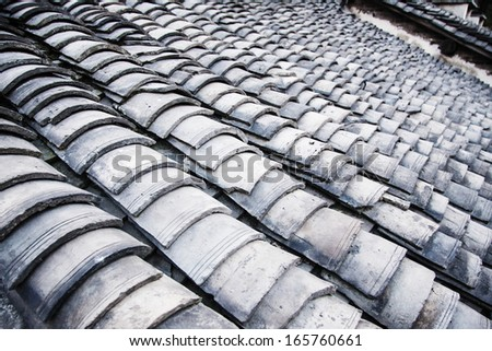Pattern of old tiles. - stock photo