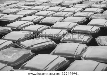 Pattern of plastic trash containers. Vintage effect.  - stock photo