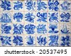 Pattern of Portuguese ancient hand-painted tiles - stock photo