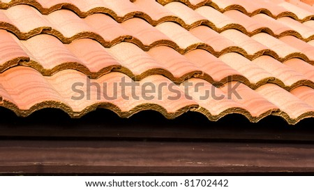 pattern of red roof on house - stock photo