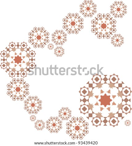 Pattern of retro colour and shapes for background over white