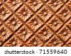 Pattern of rose carved on wood - stock photo