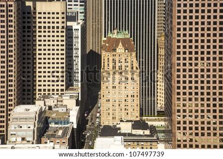 pattern of skyscraper facades with old historic skyscraper - stock photo