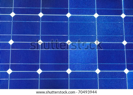 Pattern of solar cell wafers in photovoltaic solar panel. - stock photo
