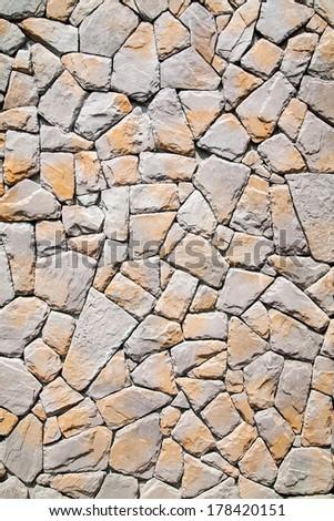 Pattern of stone wall surface. - stock photo