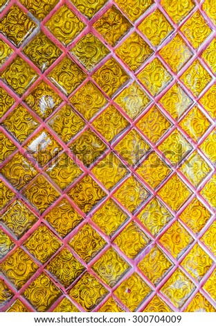Pattern of thai traditional ornament paint on temple door wall - stock photo