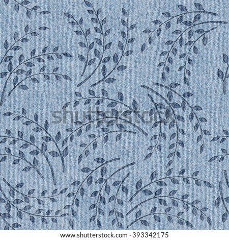Pattern of the decorative leaves and twigs - blue jeans texture - Seamless background - Interior Design wallpaper - Decorative wrapping paper - continuous replication - stock photo