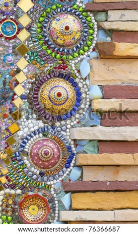 pattern of the wall made from broken ceramic - stock photo