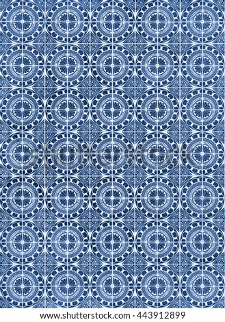 Pattern of typical portuguese tiles of Aveiro city region. - stock photo