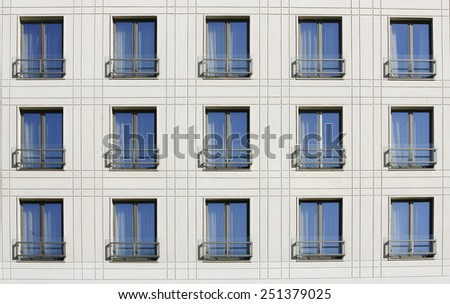 Pattern of windows and room in building - stock photo