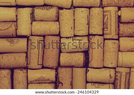 Pattern of wine corks, instagram filter - stock photo