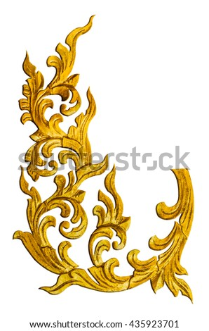 Pattern of wood carve gold paint for decoration on white background