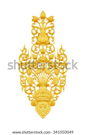 Pattern of wood carved on white background