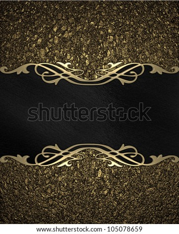 Pattern on a Black plate on a gold background - stock photo