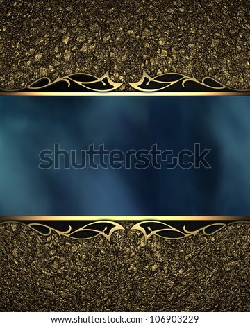 Pattern on a blue plate on a gold background - stock photo