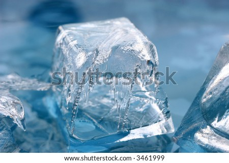 Pattern on a slice of an ice - stock photo