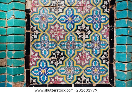 Pattern on the tile of the wall of an historical persian building in Iran - stock photo