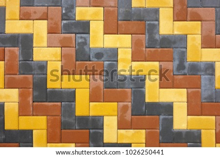 Pattern paving slabs in the form of bricks