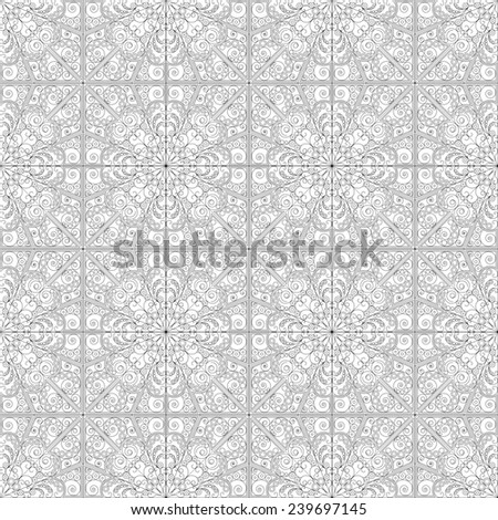 Pattern seamless. Black-white ethnic ornament. Arabesque style - stock photo