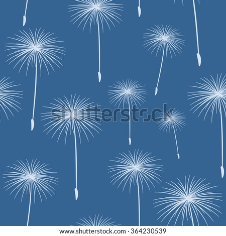 pattern seamless texture background fluffy dandelion White on blue. - stock photo