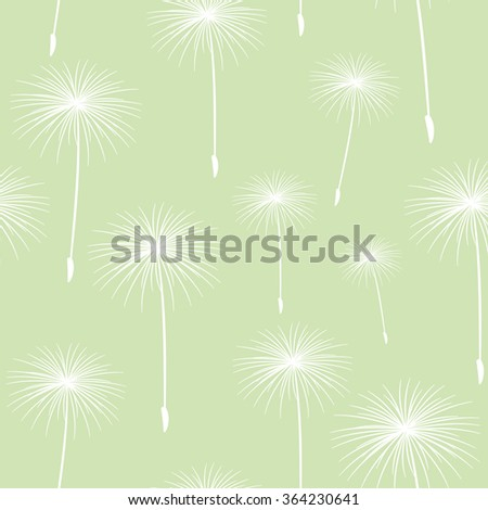 pattern seamless texture background fluffy dandelion White on light green. - stock photo