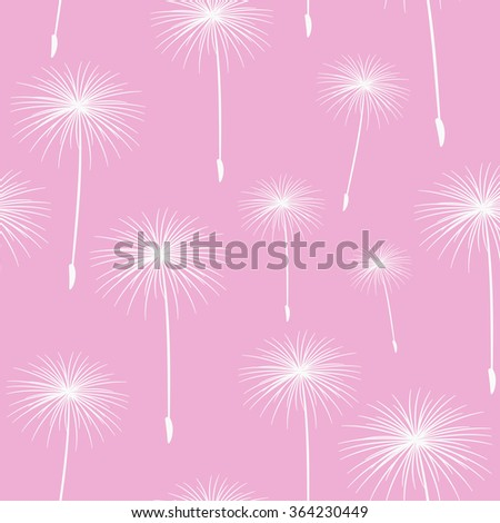 pattern seamless texture background fluffy dandelion white on pink. - stock photo
