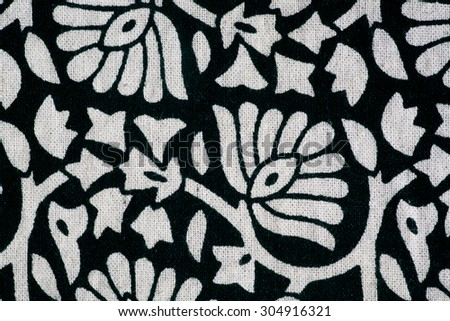 Pattern tablecloth with hand-printing in the Indian style - stock photo
