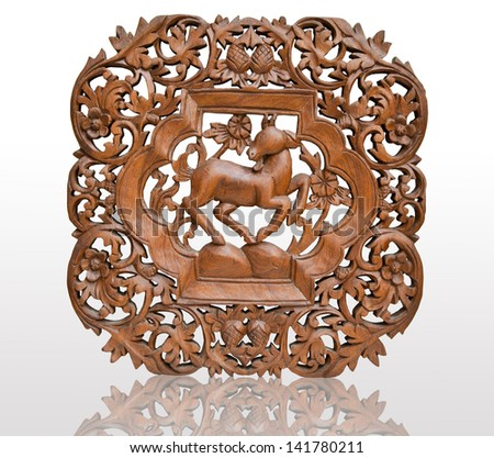 Pattern Thai art carving on wood - stock photo