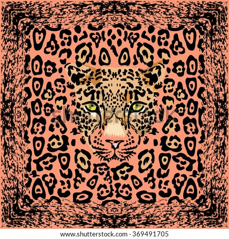 Pattern with a muzzle of a leopard - stock photo