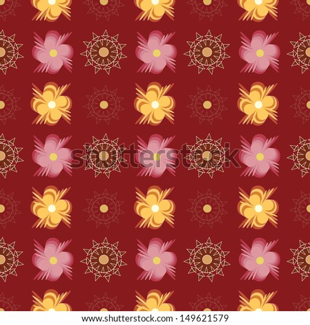 Pattern with abstract pink and yellow flowers on red background. - stock photo