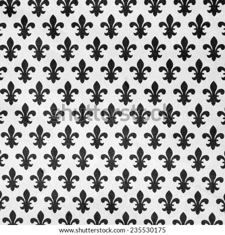 pattern with  black lily symbols on white background - stock photo