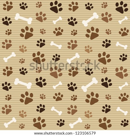 pattern with brown footprints and bones. Raster version - stock photo