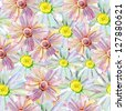 pattern with daisies. watercolor - stock photo