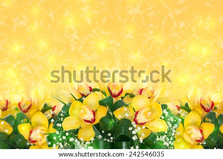 Pattern with orchids - stock photo