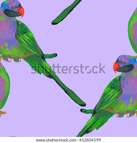 pattern with parrots, made in the technique of acrylic painting - stock photo