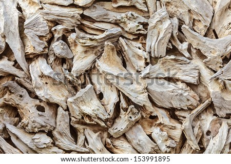 Pattern with pieces of dried beach drift wood - stock photo